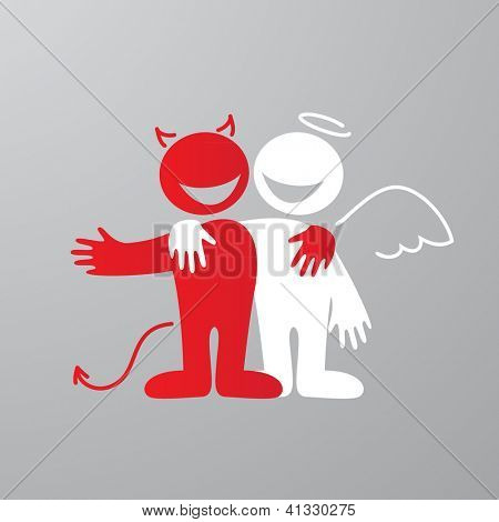 Dialogue - angel and devil. Vector.
