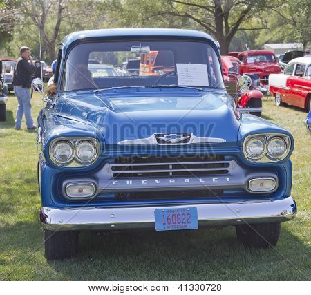 Blue 1958 Chevy Apache Front View