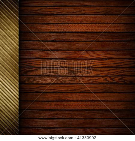 wood plank background with golden bar
