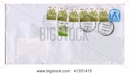 BELARUS - CIRCA 2012: Mailing envelope with postage stamps dedicated to Polotsk and Nesvizh, circa 2012.