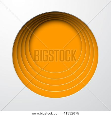 Vector illustration of orange paper notched out round bubbles. Eps10.