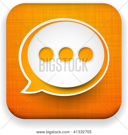 Vector illustration of high-detailed linen app speech bubble icon template. Eps10.
