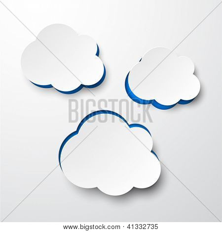 Vector illustration of white paper notched out clouds. Eps10.