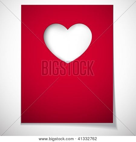 Vector illustration of love greeting card. Notched out heart. Eps10.
