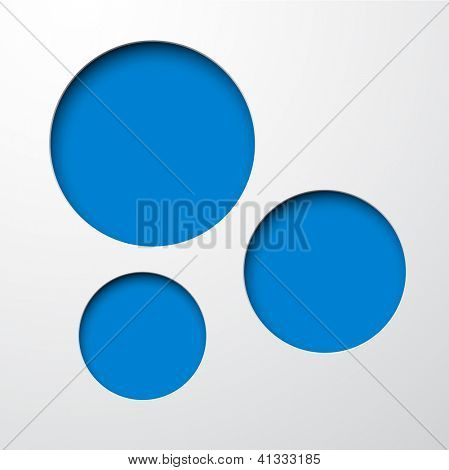 Vector illustration of blue paper notched out round bubbles. Eps10.