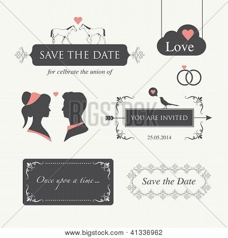 wedding invitation, with logo design element editable