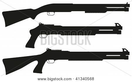 Shotgun Black Silhouette Vector Illustration