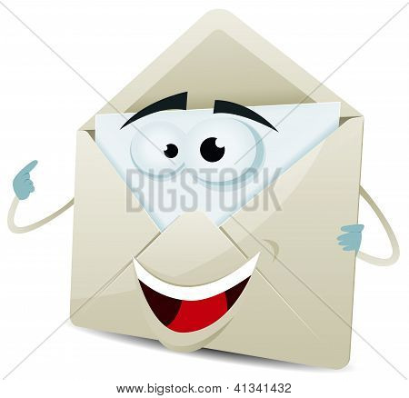 Cartoon Happy Email Character