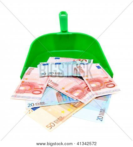 Scoops and money. On a white background.