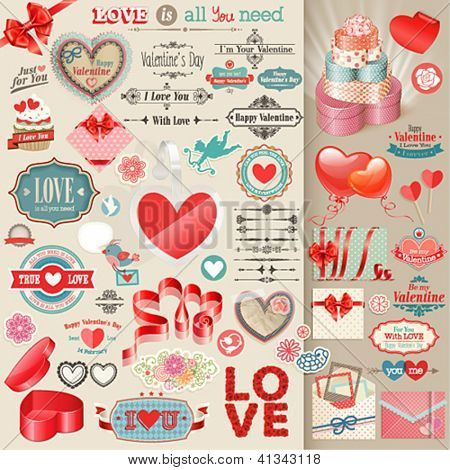 Valentine`s Day set - vintage design elements.