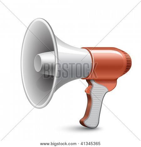 Megaphone. Highly detailed vector illustration of loudspeaker