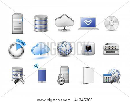 Zeer gedetailleerde vector iconen. Servers, databases, netwerkapparaten en cloud computing concept