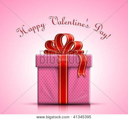 Valentine gift box with ribbon and bow. Vector illustration