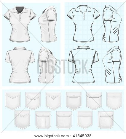 Vector. Women's polo-shirt design templates (front, back and side view). No mesh. Different variants: outlines and  detailed. Collections of pockets.