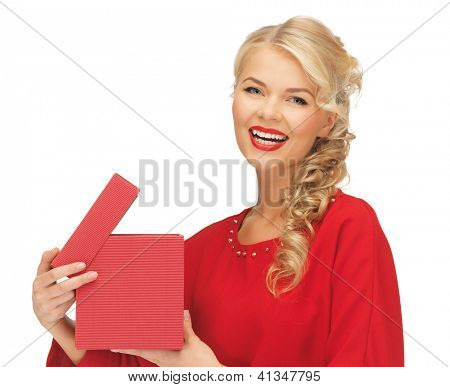 picture of lovely woman in red dress with opened gift box