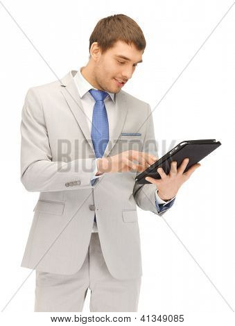 picture of happy man with tablet pc computer