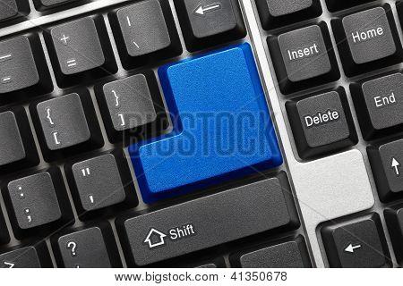 Conceptual Keyboard - Blank Blue Key
