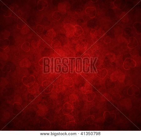 red background with hearts for Valentine's