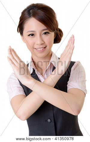 Asian business woman give you No gesture, close up portrait on white background.