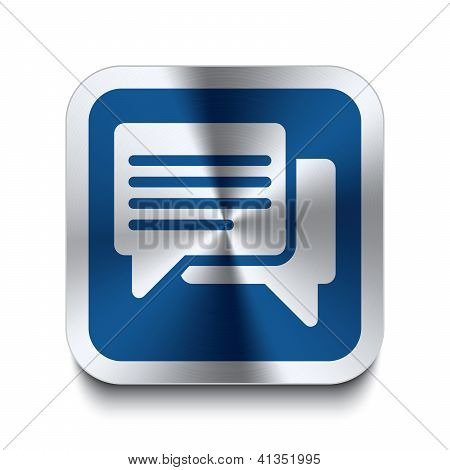 Square Metal Button - Blue Speech Bubble Icon