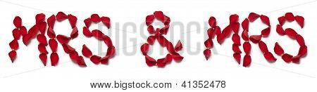Red Rose Petals Spelling Mrs And Mrs