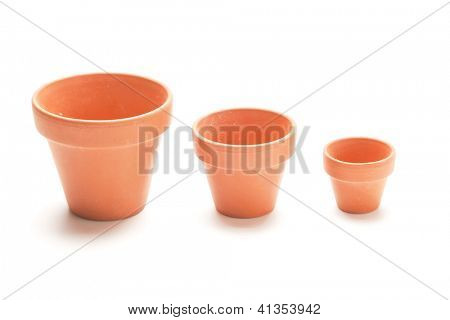 Collection of new clay pots of three different sizes.