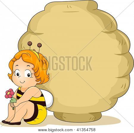 Smiling Baby Girl in Bee Costume Leaning on a Beehive Blank Board holding a flower