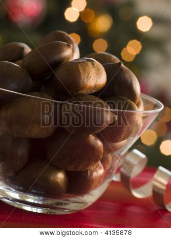 Bowl Of Chestnuts In Their Shells
