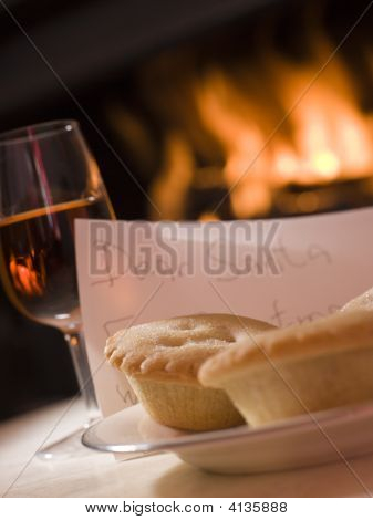 Santa Plate Of Mince Pie Sherry And A Letter