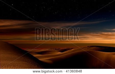 Night in the desert sand dunes