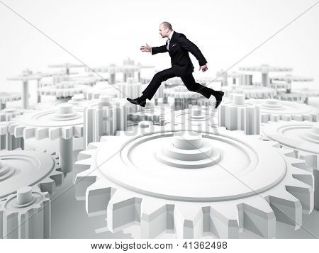 caucasian man jump over 3d gear background