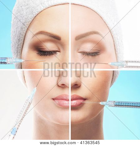 Collage made of some different images with the botox injections