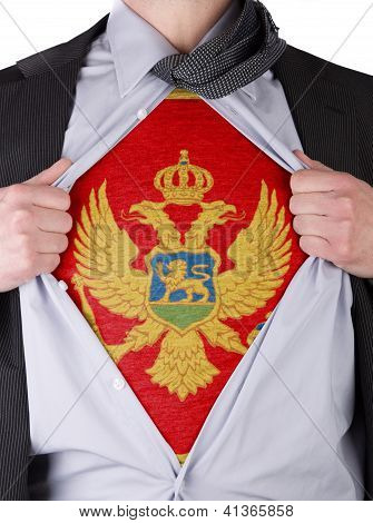 Business Man With Montenegrin Flag T-shirt