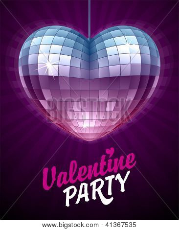 Vector Disco Heart. Mirror disco ball in the shape of heart. Valentine's Day Card 3