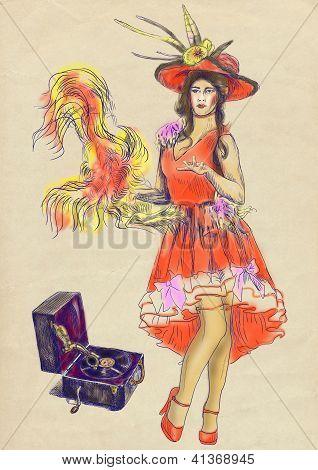 Vaudeville artist dancing