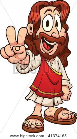 Cartoon Jesus. Vector clip art illustration with simple gradients. All in a single layer.