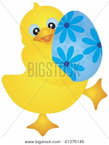 Duckie Carrying Easter Egg Illustration