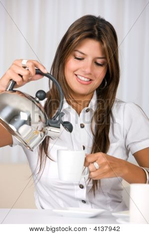 Casual Woman Pouring Coffee