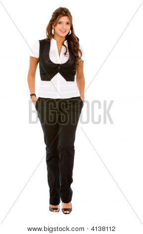 Business Woman Walking Isolated