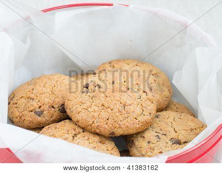Chocolate Cookies In A Tin Jar