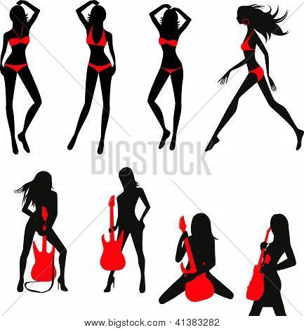 Silhouettes Of Girls Set.eps