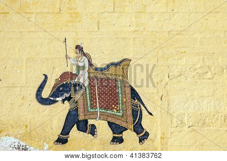Colorful Indian Mural In The Fort At Jodhpur Showing A Royal Procession