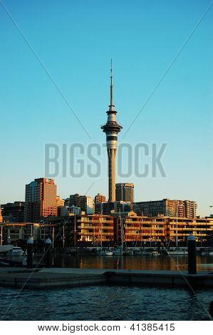 View of Auckland city over harbor, New Zealand