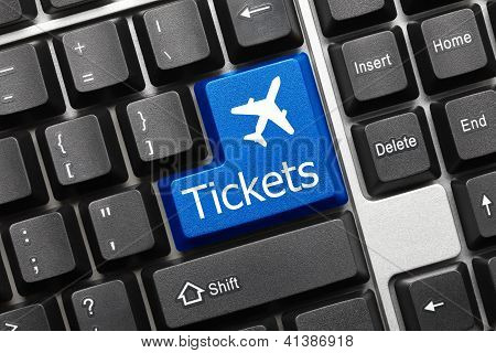 Conceptual Keyboard - Tickets (blue Key With Aeroplane Symbol)