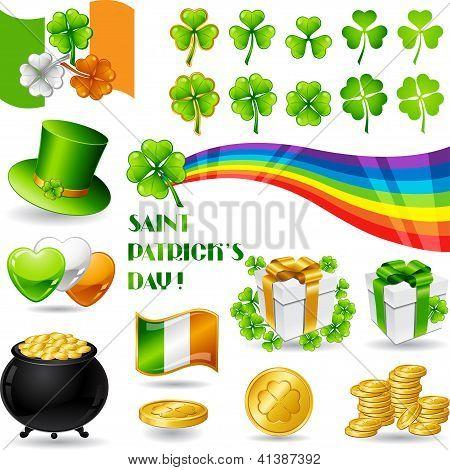 Collection illustrations of Saint Patrick's Day symbols.