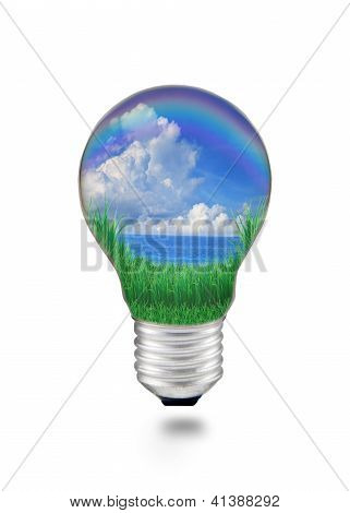 blue water with blue sky white clouds in light bulb seem save nature and good environment