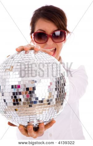 Woman Holding Disco Ball