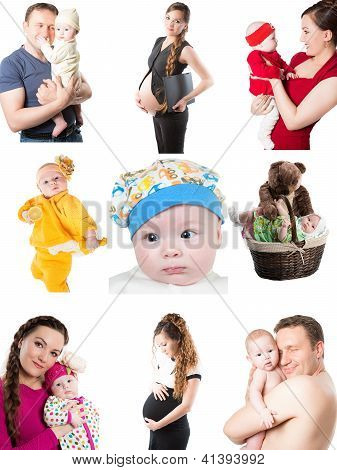 Collage Of Different Photos Of Babies And Father, Mother. Family Happy Moments