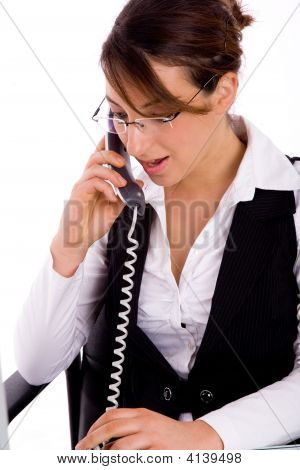Portrait Of Executive Busy On Phone