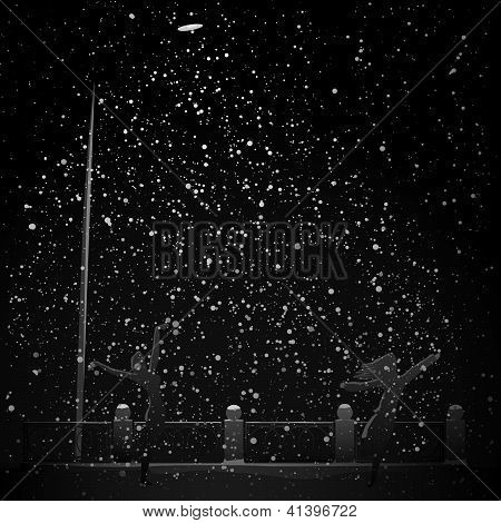 Night Snowfall In Beam Light From Street Lamp.